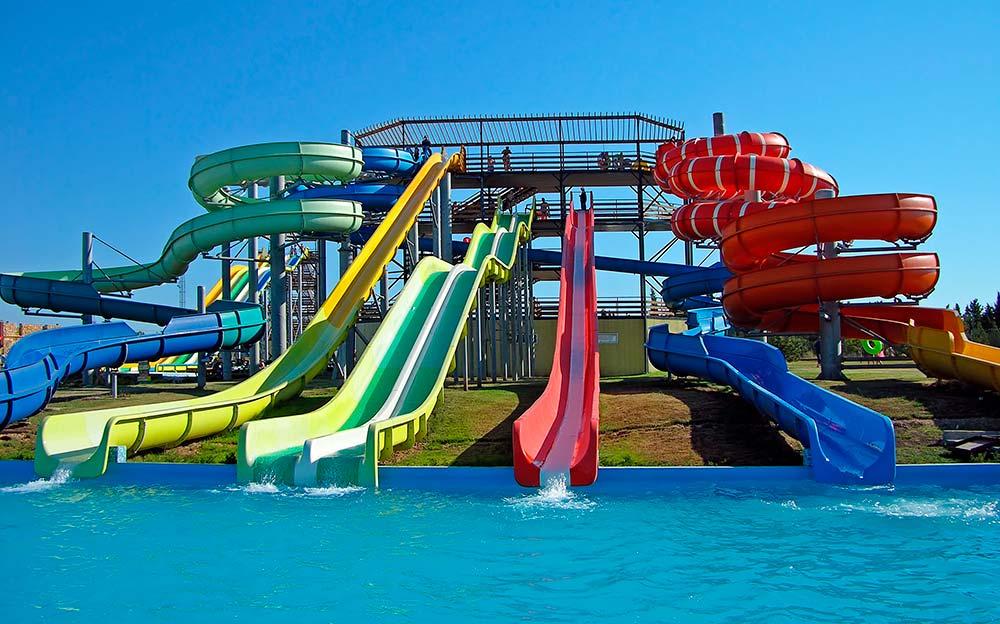 Slides at swimming pool
